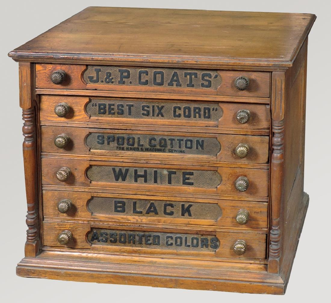 Country store spool cabinet, J. & P. Coats' oak 6