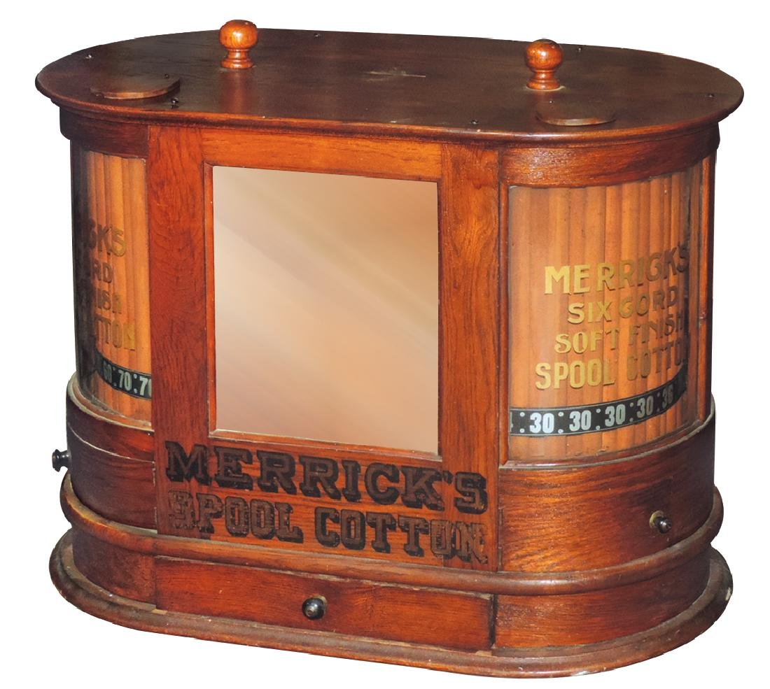 Country store spool cabinet, Merrick's w/double
