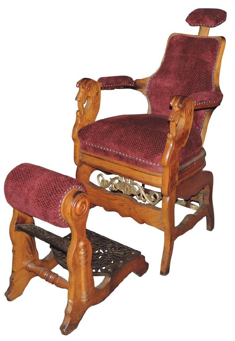Barber chair, Melchlor Bros.-Chicago, #9, oak w/dog