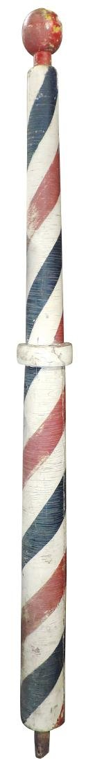 Barber shop pole, wood w/orig paint, early 1900's,