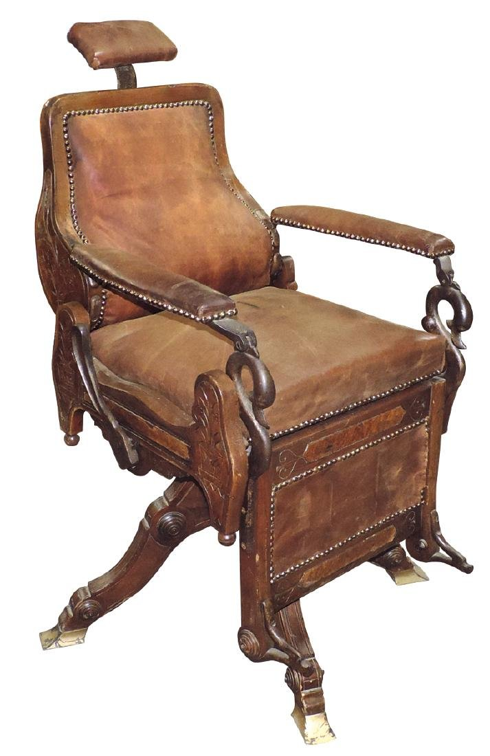 "Barber chair, Eugene Berninghaus ""Climax"", Cinc, OH,"