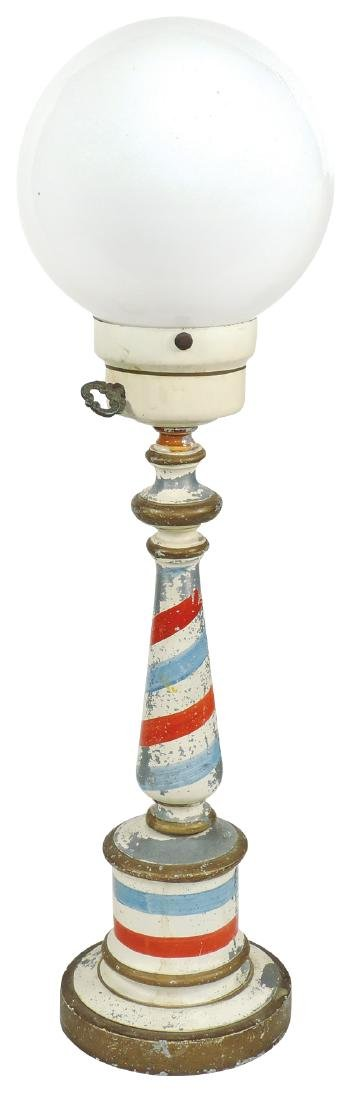 Barber shop lamp, painted cast metal w/glass globe, VG