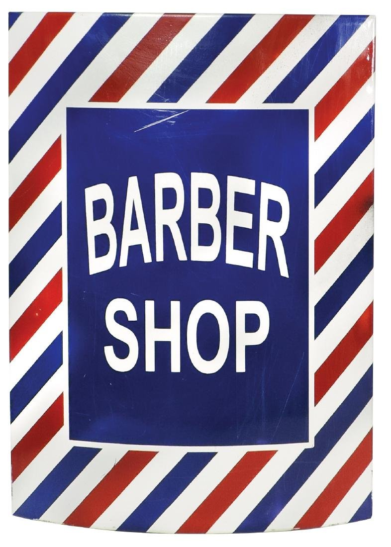 Barber shop sign, curved metal w/great color, VG+ cond,