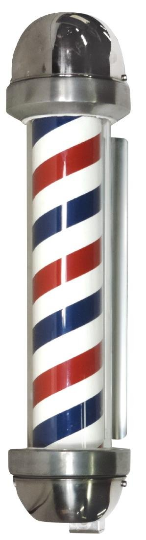 Barber shop pole, William Marvy Co., glass cylinder, li