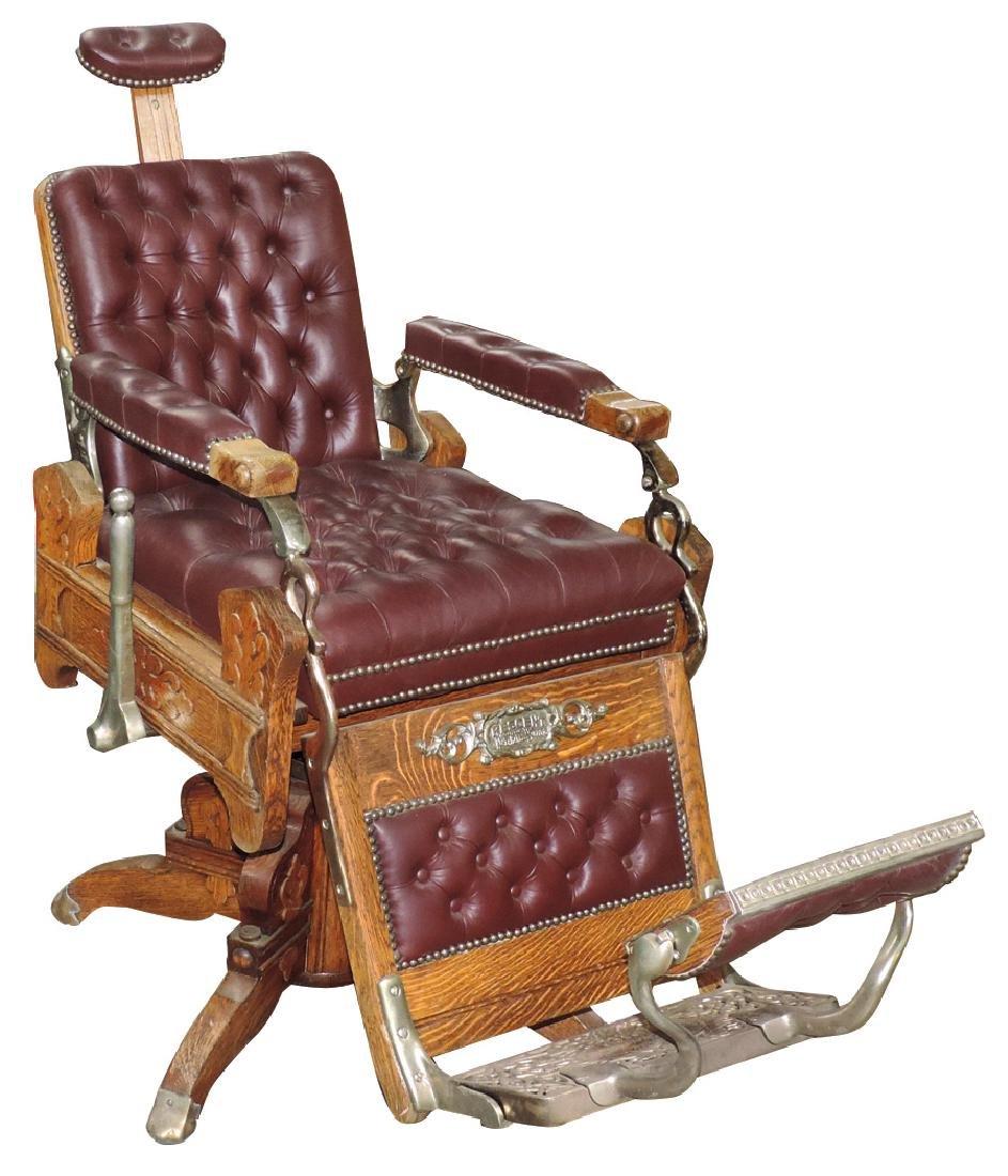"""Barber chair, Koken """"Crescent"""", quartersawn oak"""