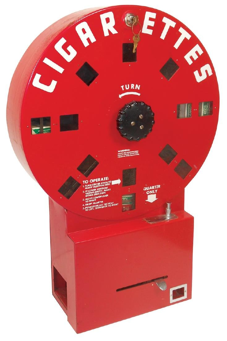 Coin-operated cigarette machine, Dial A Smoke, mfgd by