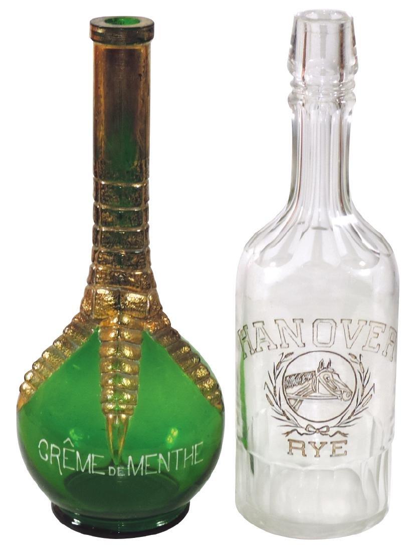 "Breweriana back bar bottles (2), ""Crème de Menthe"","