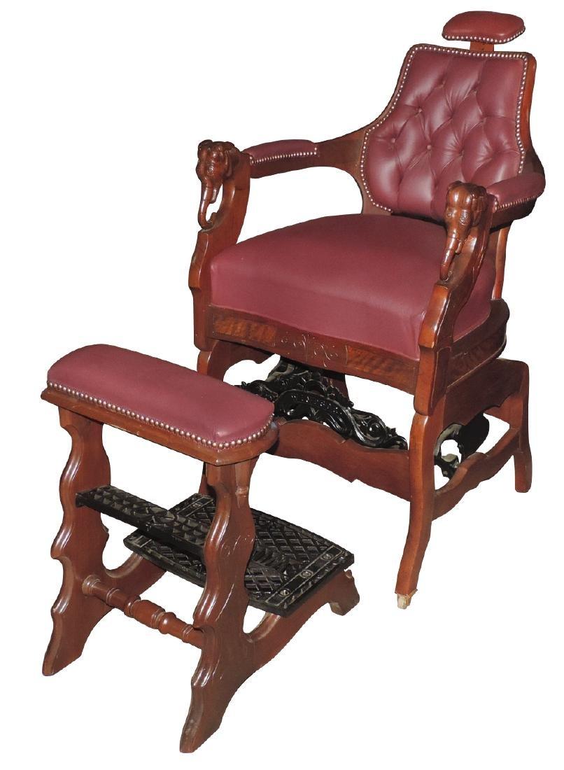 Barber chair & footrest,  Kochs' Windsor, walnut