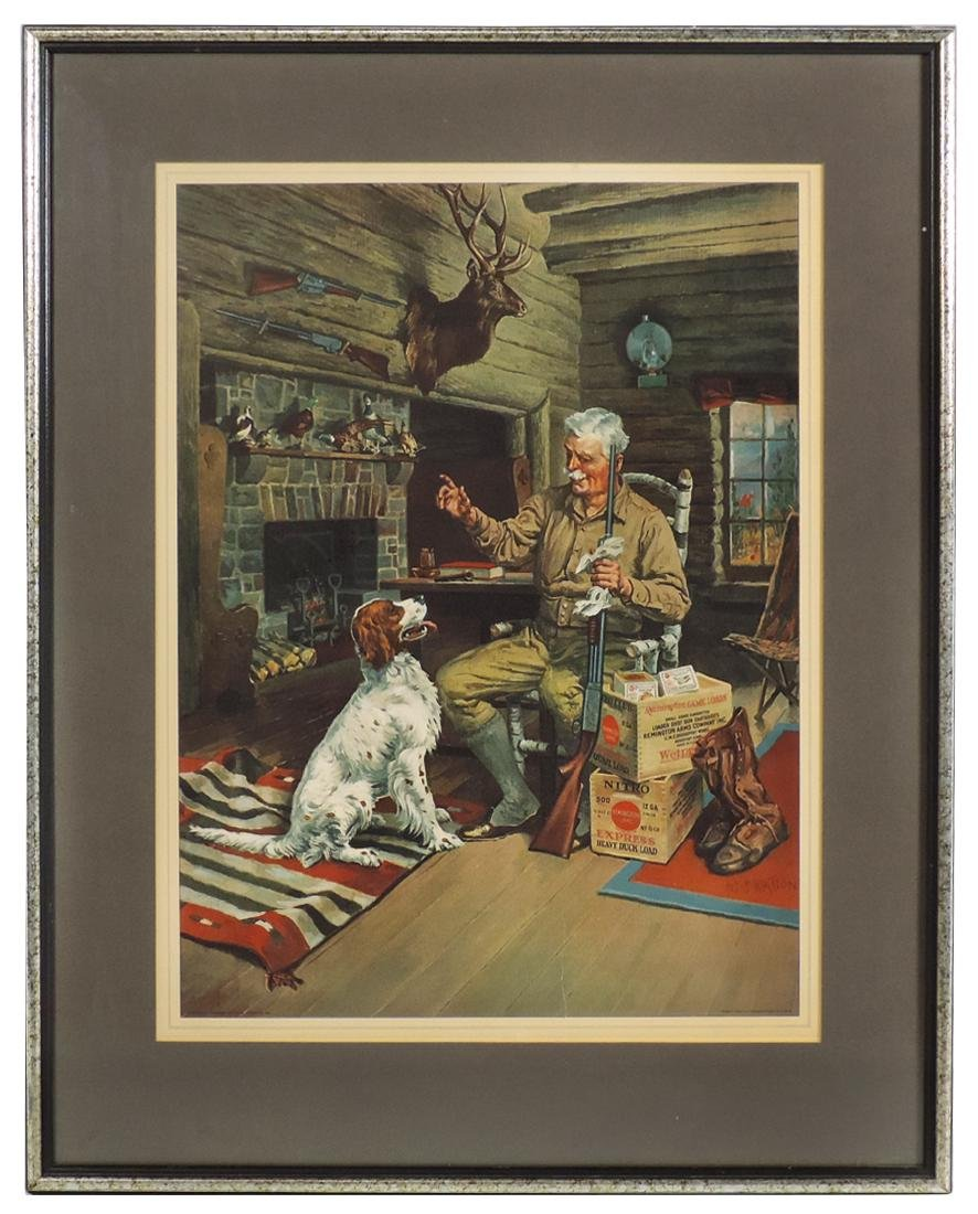 Advertising print, Remington, litho on paper w/cabin