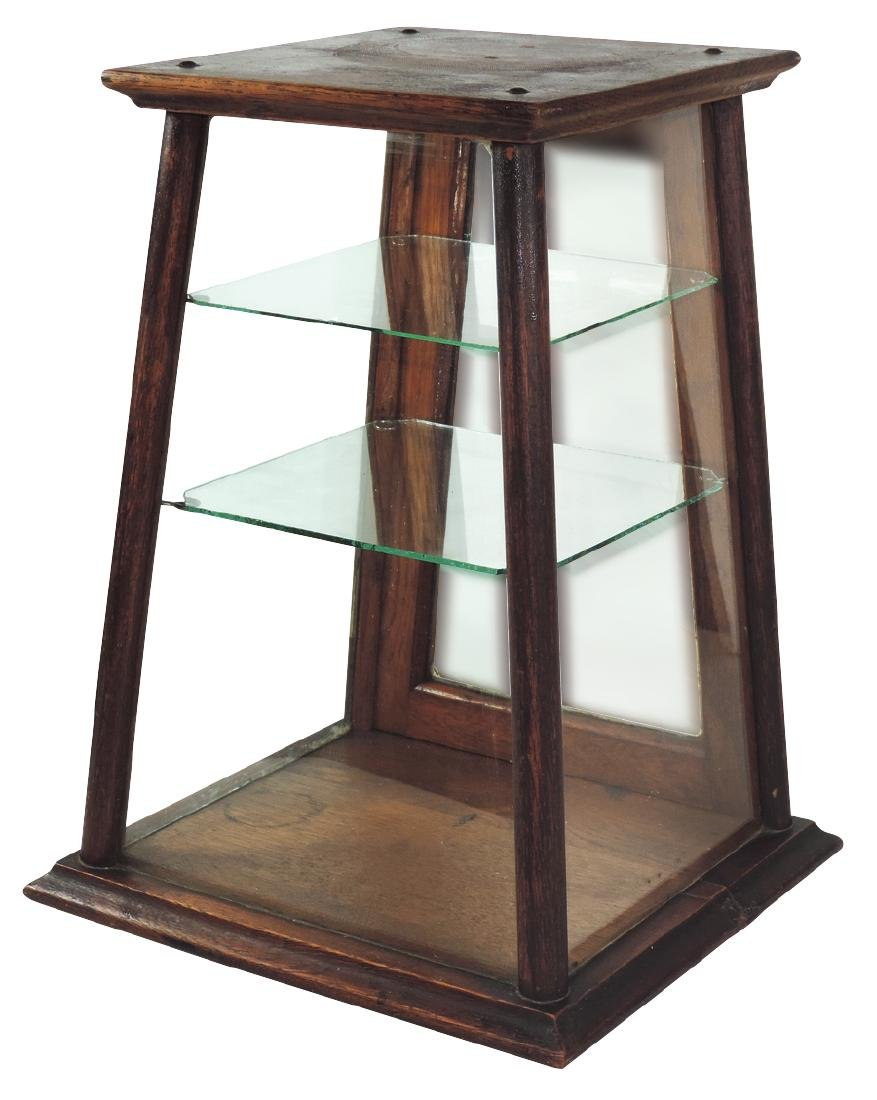 Country store countertop showcase, oak & glass w/angled