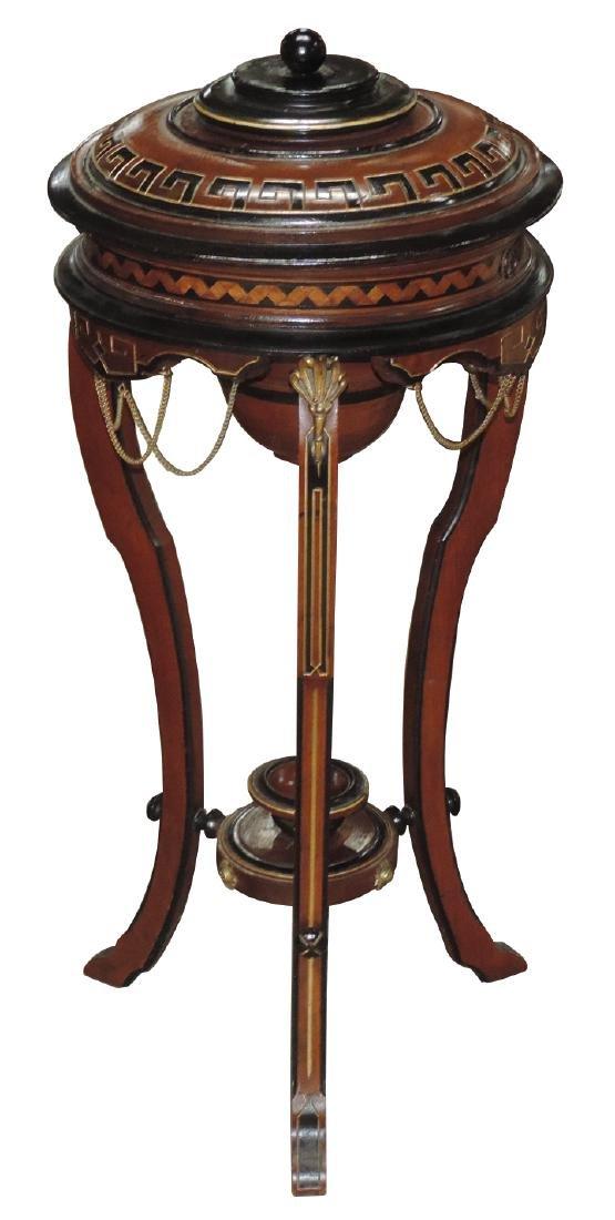 Sewing cabinet, walnut w/beautiful inlay & brass trim,