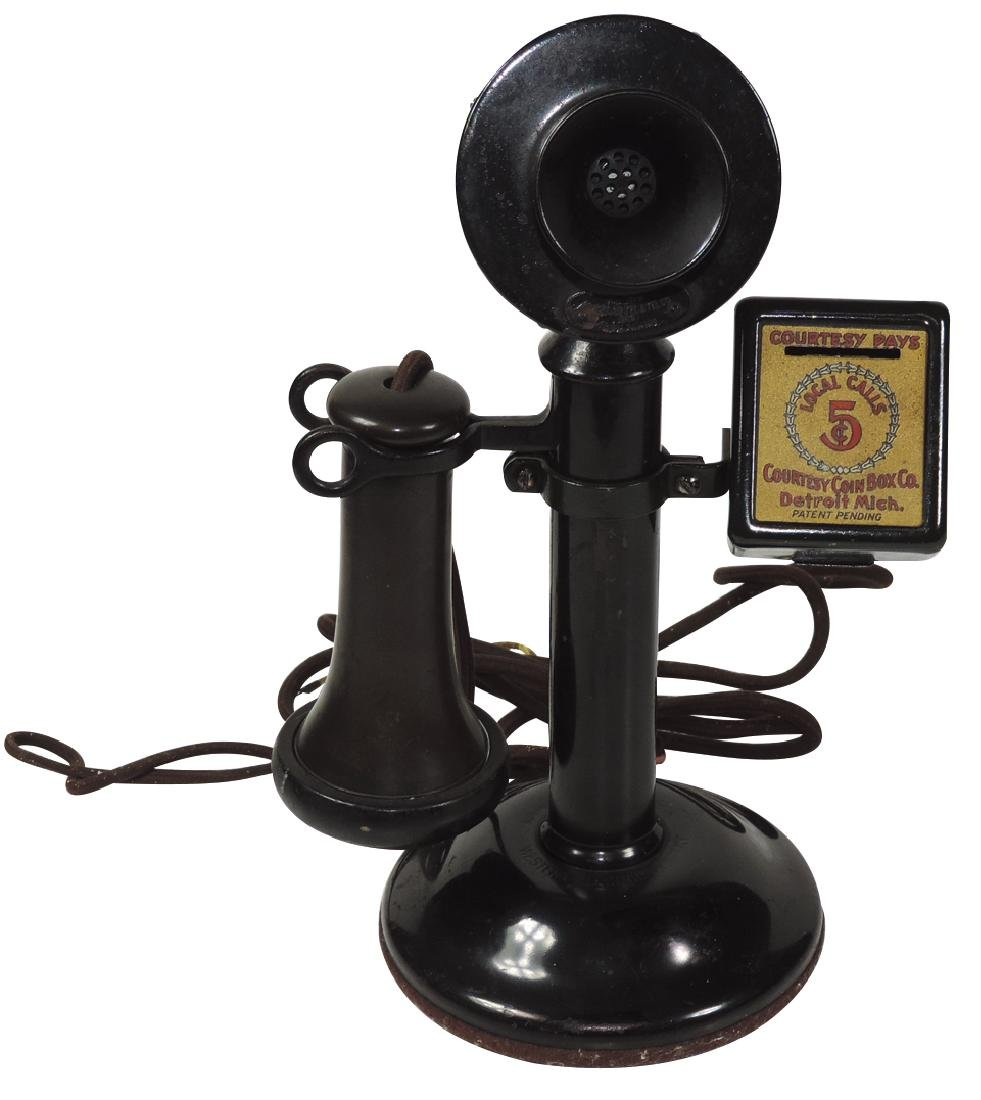 Telephone, candlestick w/pay box, telephone marked