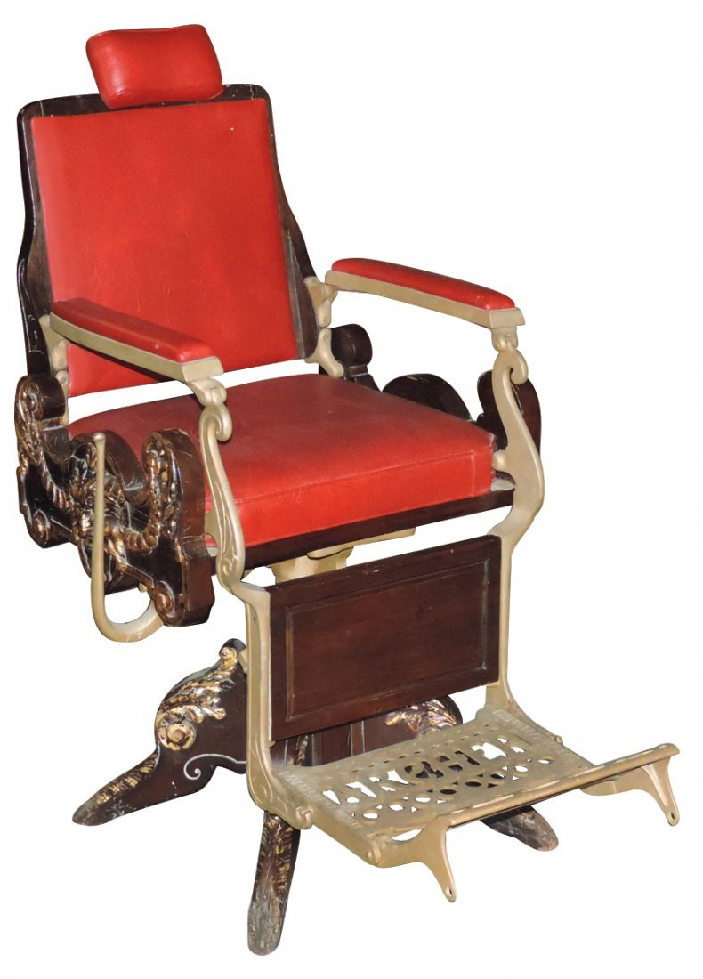 Barber chair, Archer Mfg Co.-Rochester, NY, wood w/red