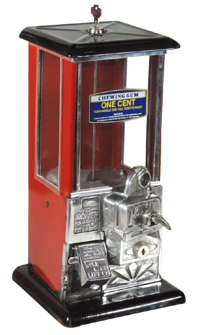 Coin-operated gum machine, The Master, 1 Cent, Exc