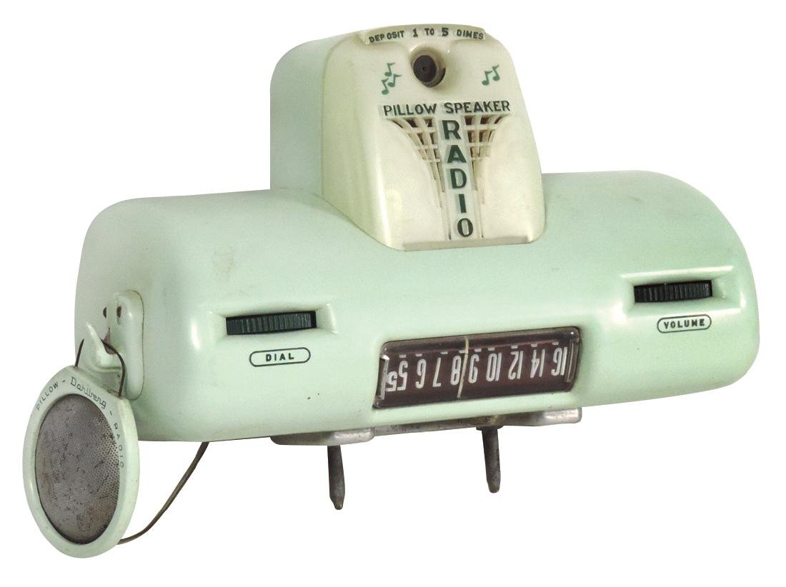Coin-operated pillow-speaker radio, mfgd by The