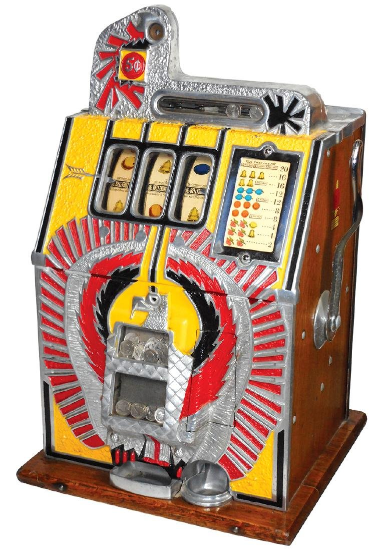 Coin-operated slot machine, Mills War Eagle, c.1930's,