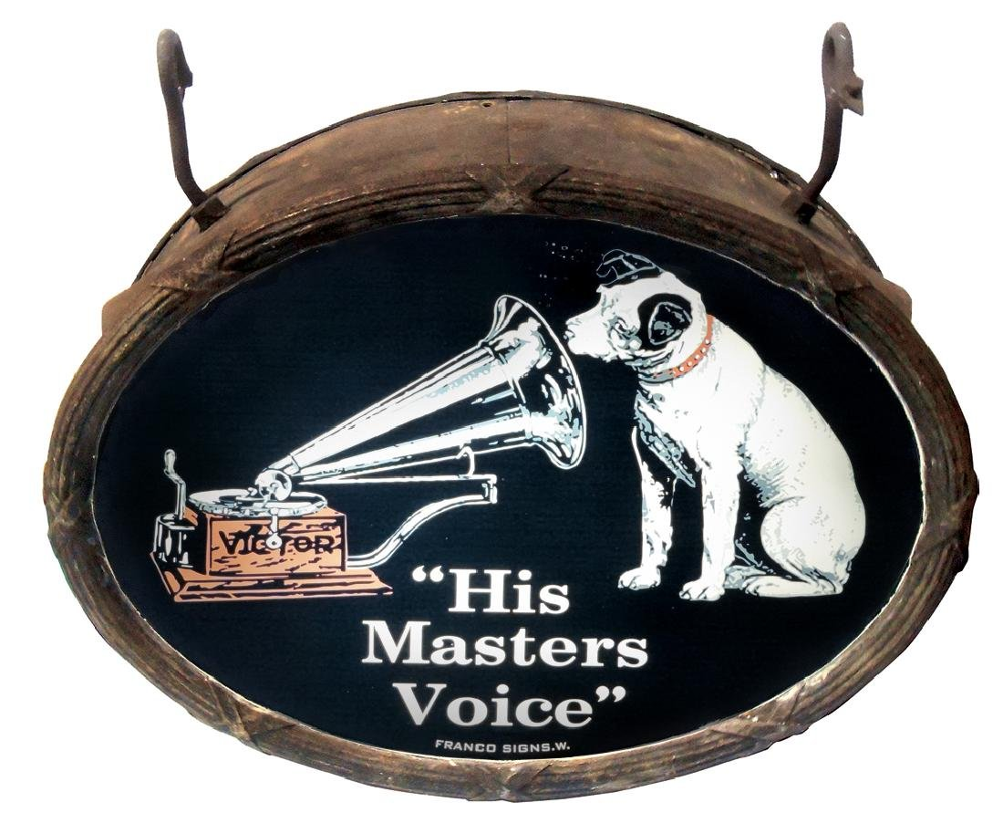 "Music store sign, ""His Master's Voice"", 2-sided"