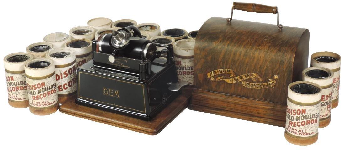 Music, Edison Gem Phonograph, pat'd June 1898, oak case
