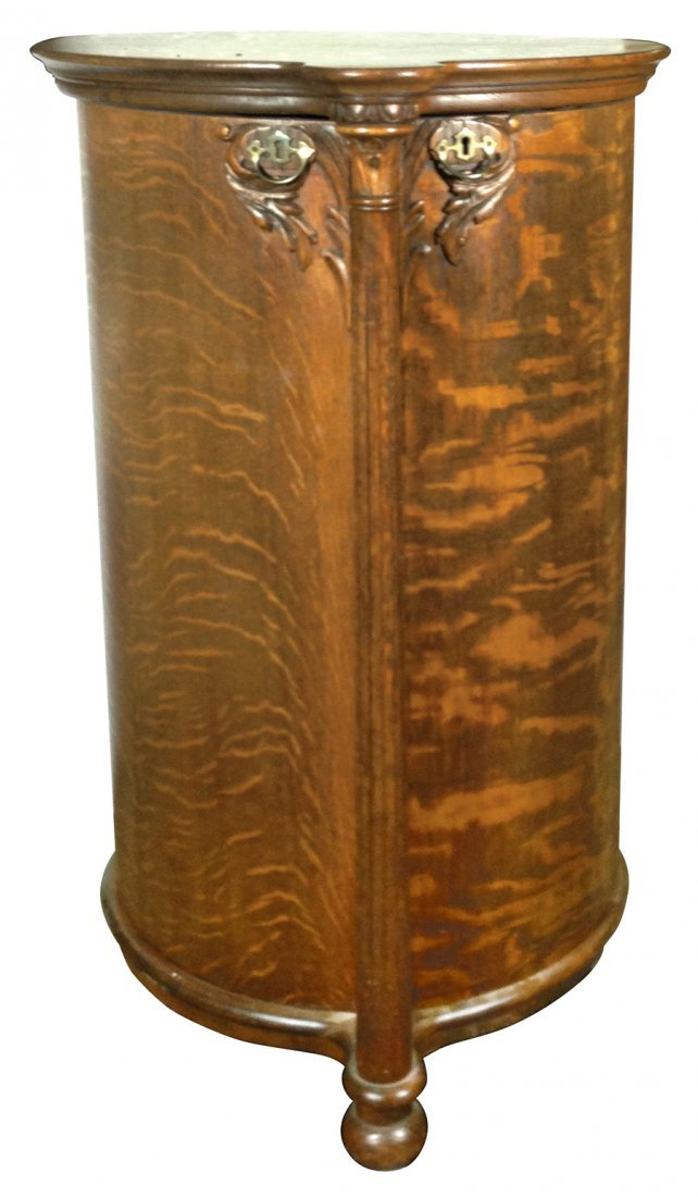 Music, cylinder record cabinet, Rare cylindrical shaped