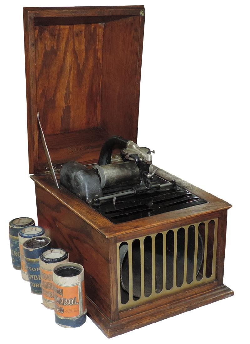 Music, Edison cylinder player, table model in oak case,