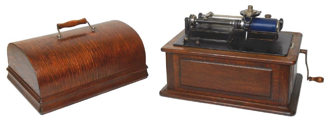 Music, Edison Triumph Model E rear-mount phonograph,