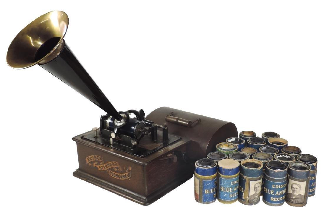 Music, Edison Standard Phonograph w/horn, oak case
