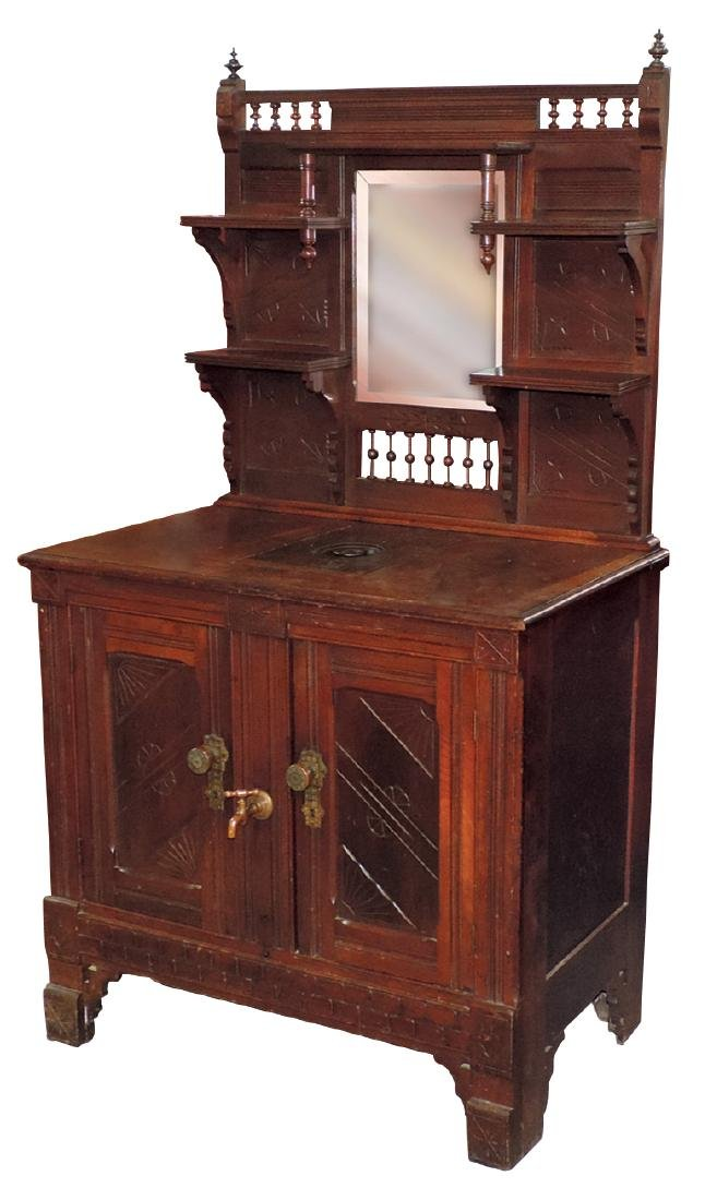 Furniture, ice box, Eastlake Victorian, walnut w/spoon