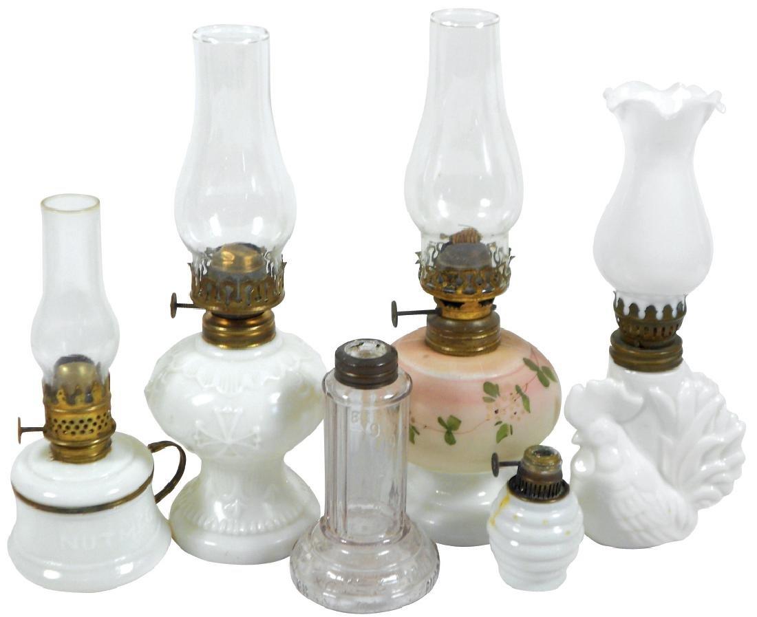 Lighting, (6) 0il lamps, early milk glass Nutmeg finger