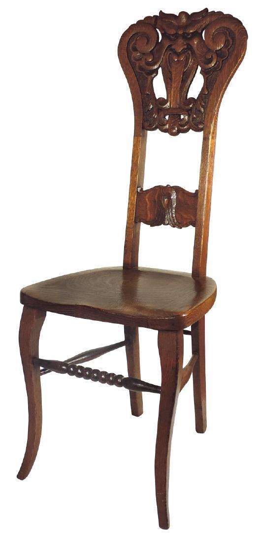Furniture, high back chair w/contoured seat, oak