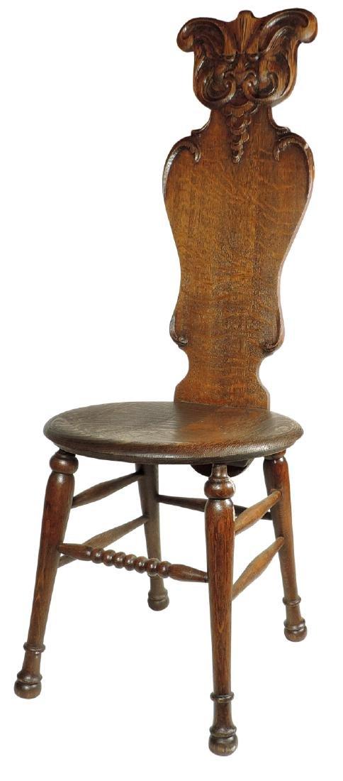 Furniture, high back chair, quartersawn oak w/round