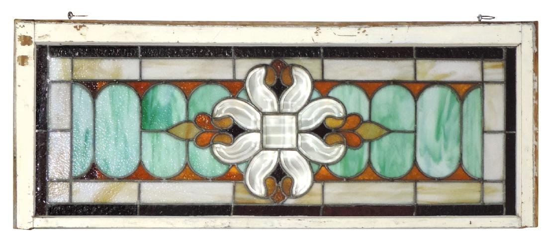 Architectural stained glass window, multi-colored