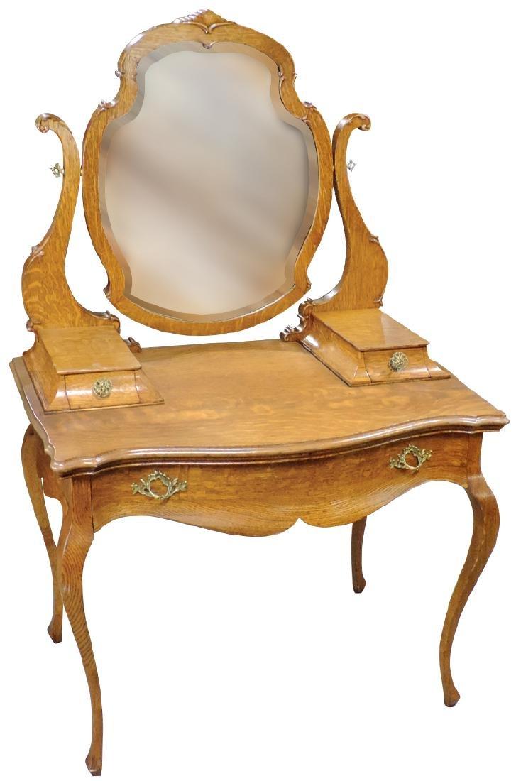 Furniture, vanity, oak w/beveled mirror, handkerchief