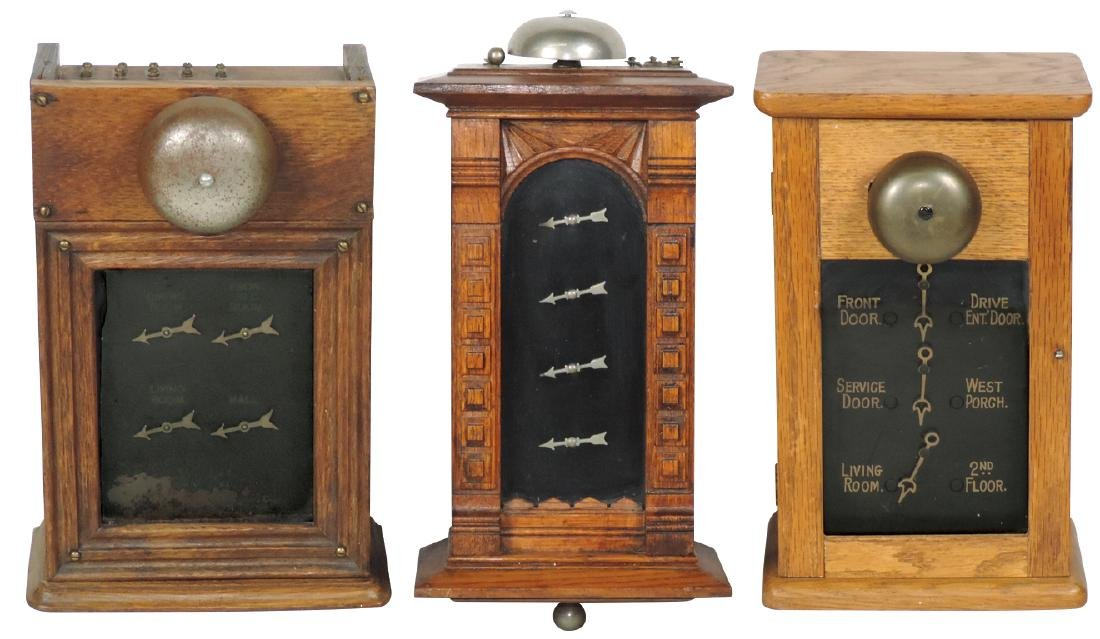 Hotel or servant call bells (3), oak cases, 1 very
