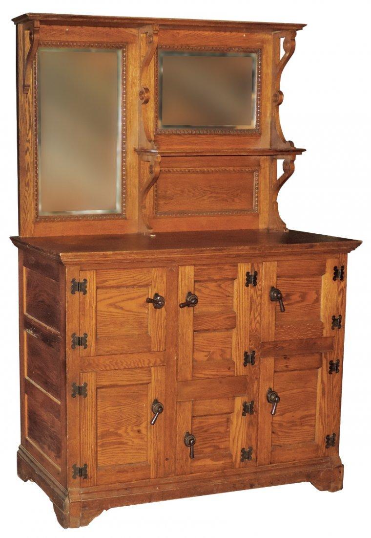 Furniture, icebox, 2-pc oak 6-door w/hooded top, 2