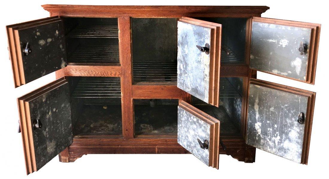 Furniture, icebox, 2-pc oak 6-door w/hooded top, 2 - 2