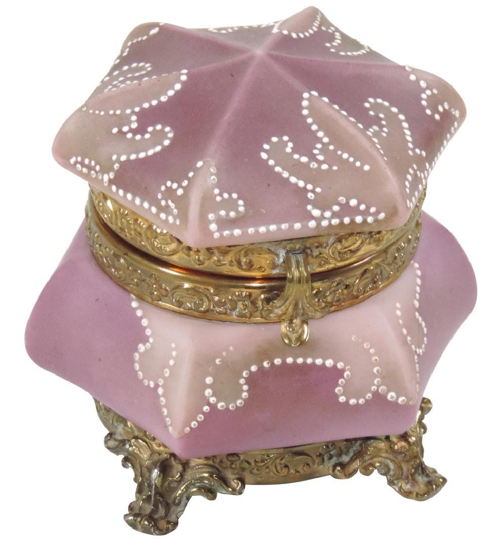 Dresser box, C.F. Monroe Nakara, footed 2-tone purple