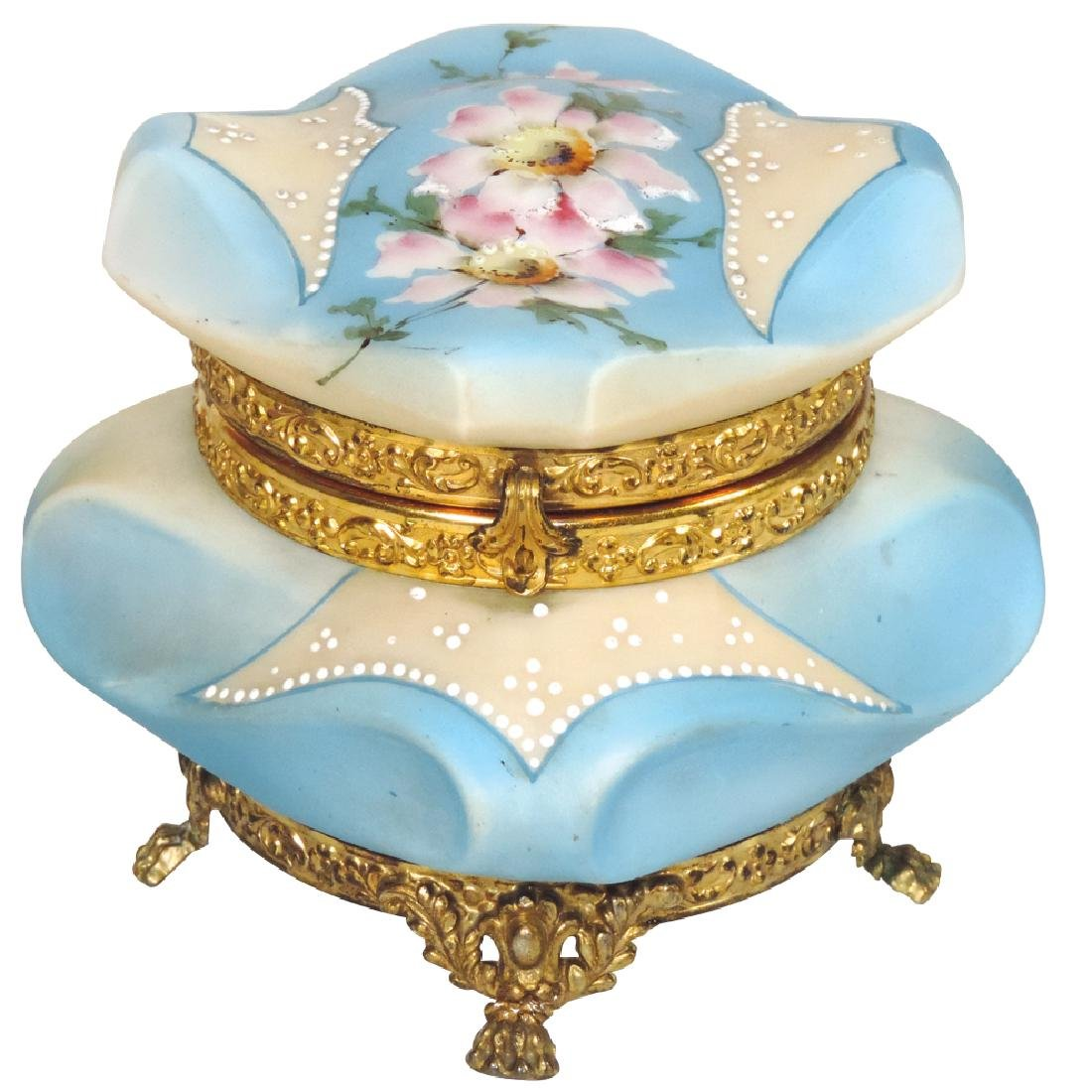 Dresser box, C.F. Monroe Nakara, footed powder blue