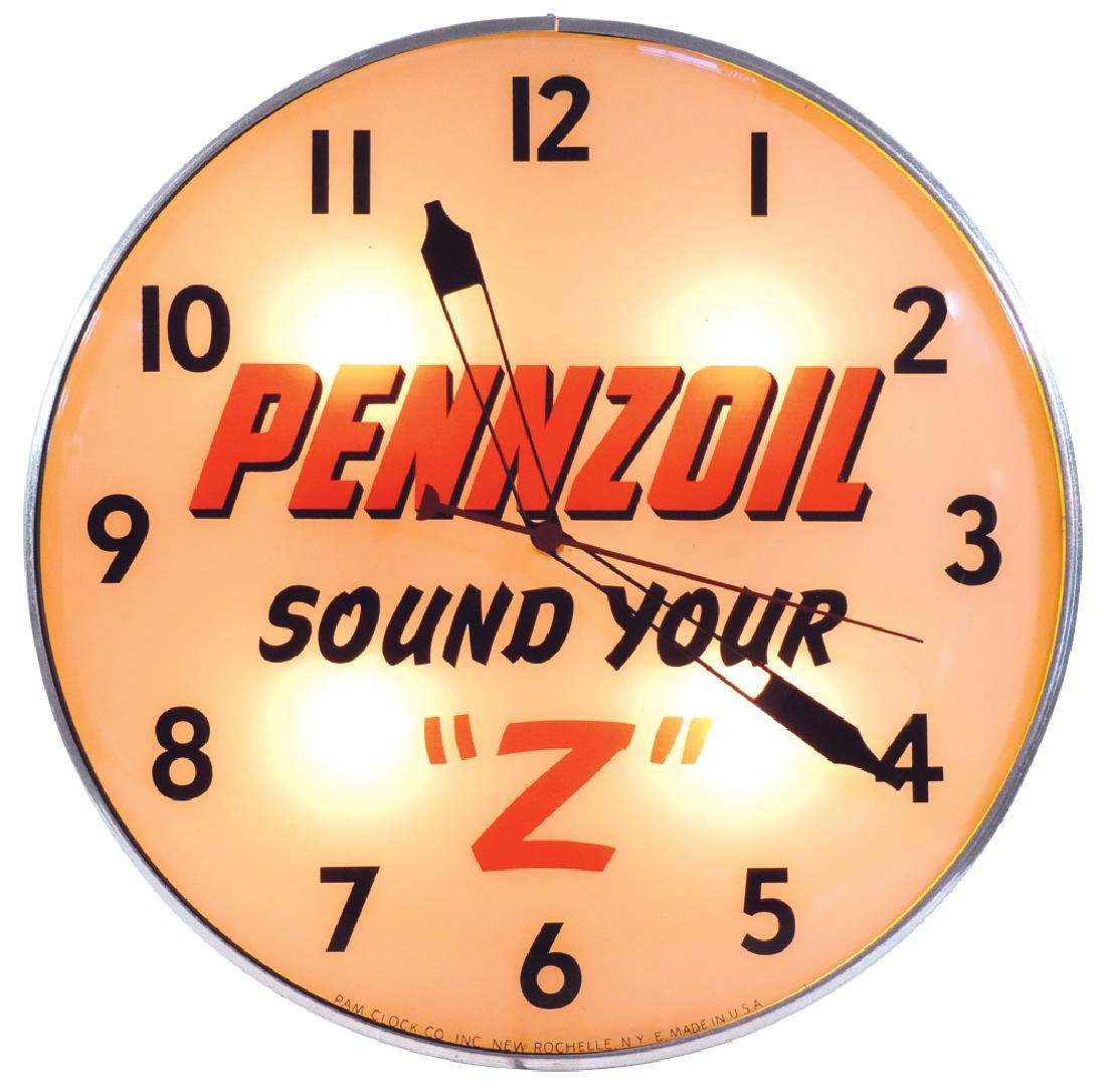 "Petroliana clock, Pennzoil Sound Your ""Z"", metal"