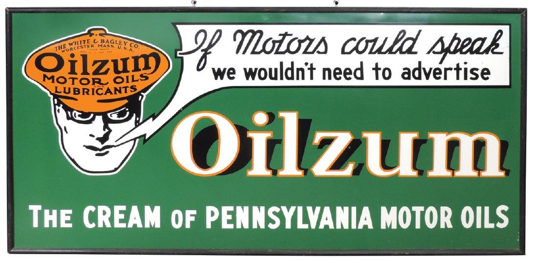 Petroliana sign, Oilzum Motor Oils, The White & Bagley
