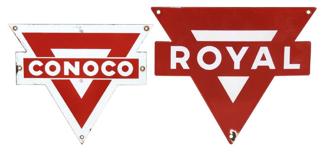 Petroliana pump plates (2), Conoco & Royal, both
