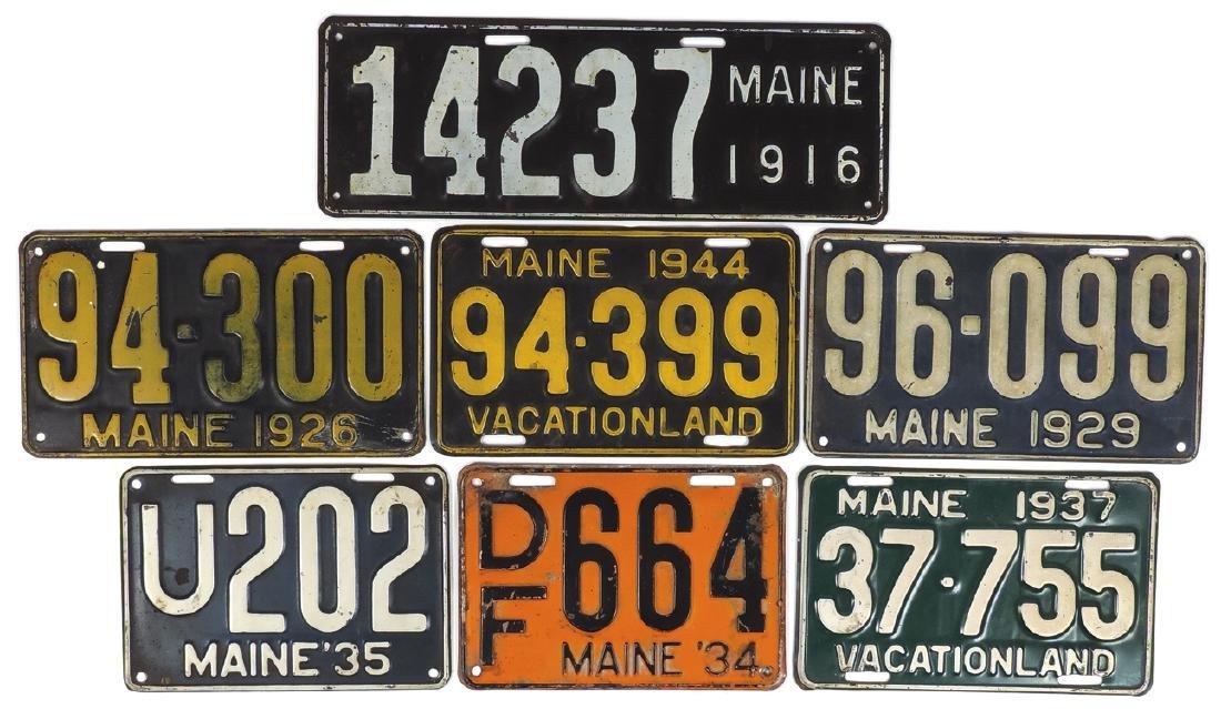Automotive license plates (7), Maine embossed steel