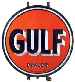 Petroliana sign, Gulf dealer display, 2-sided porcelain