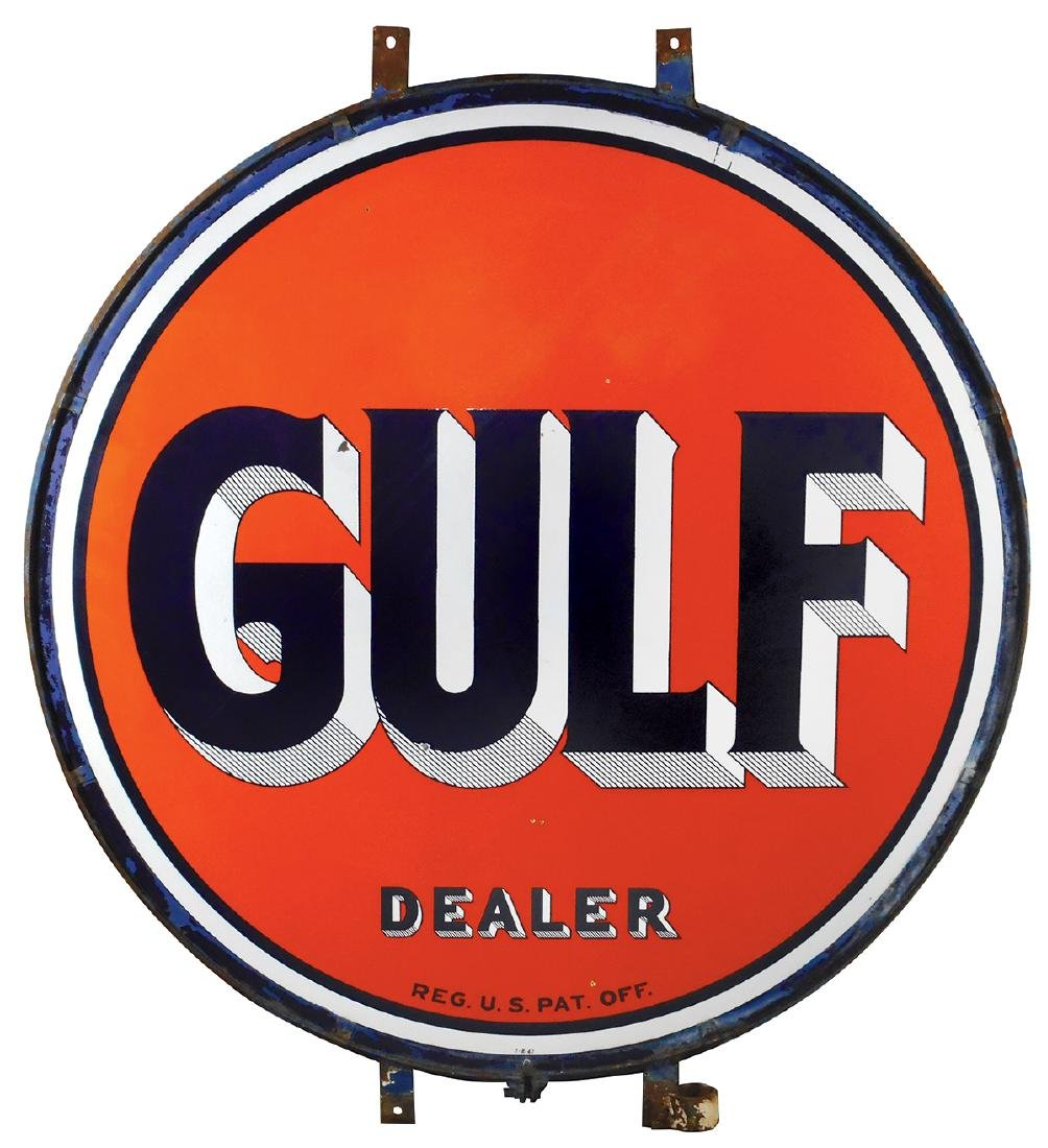 Petroliana sign, Gulf dealer display, 2-sided porcelain