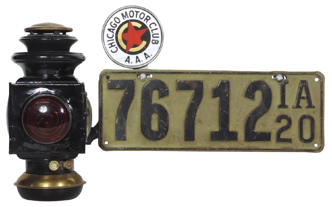 Automobile Ford Model T tail lamp w/license plate &