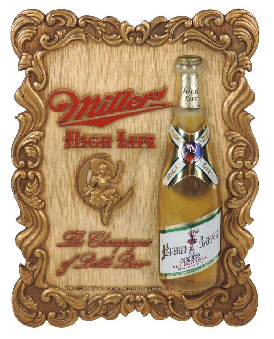 Breweriana sign, Miller High Life, dated 1952, molded
