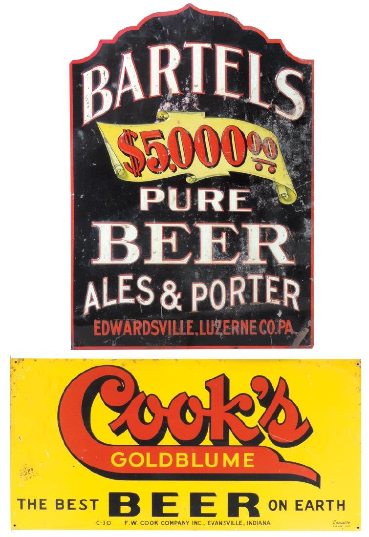 Breweriana signs (2), Bartels Pure Beer, embossed