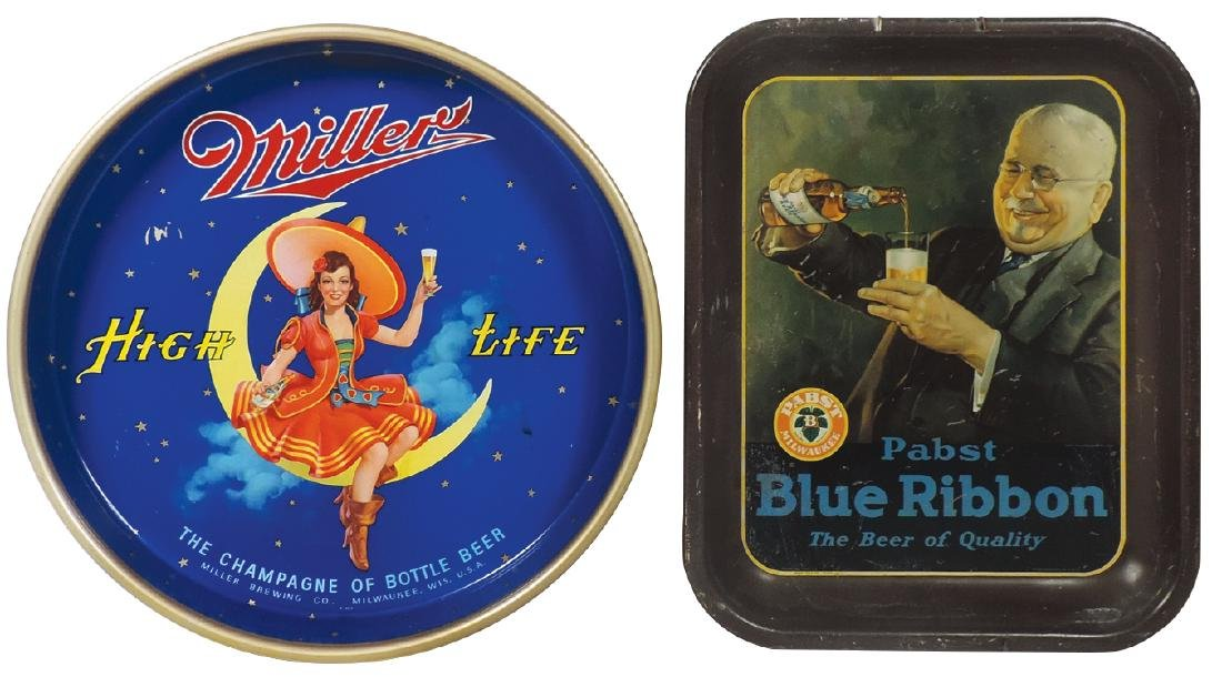 Breweriana serving trays (2), Miller High Life & Pabst
