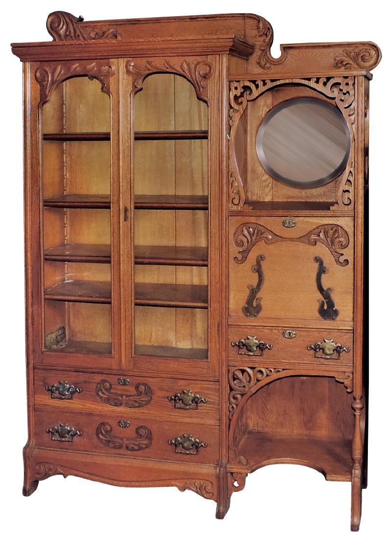 Furniture, secretary bookcase, oak w/carved details,