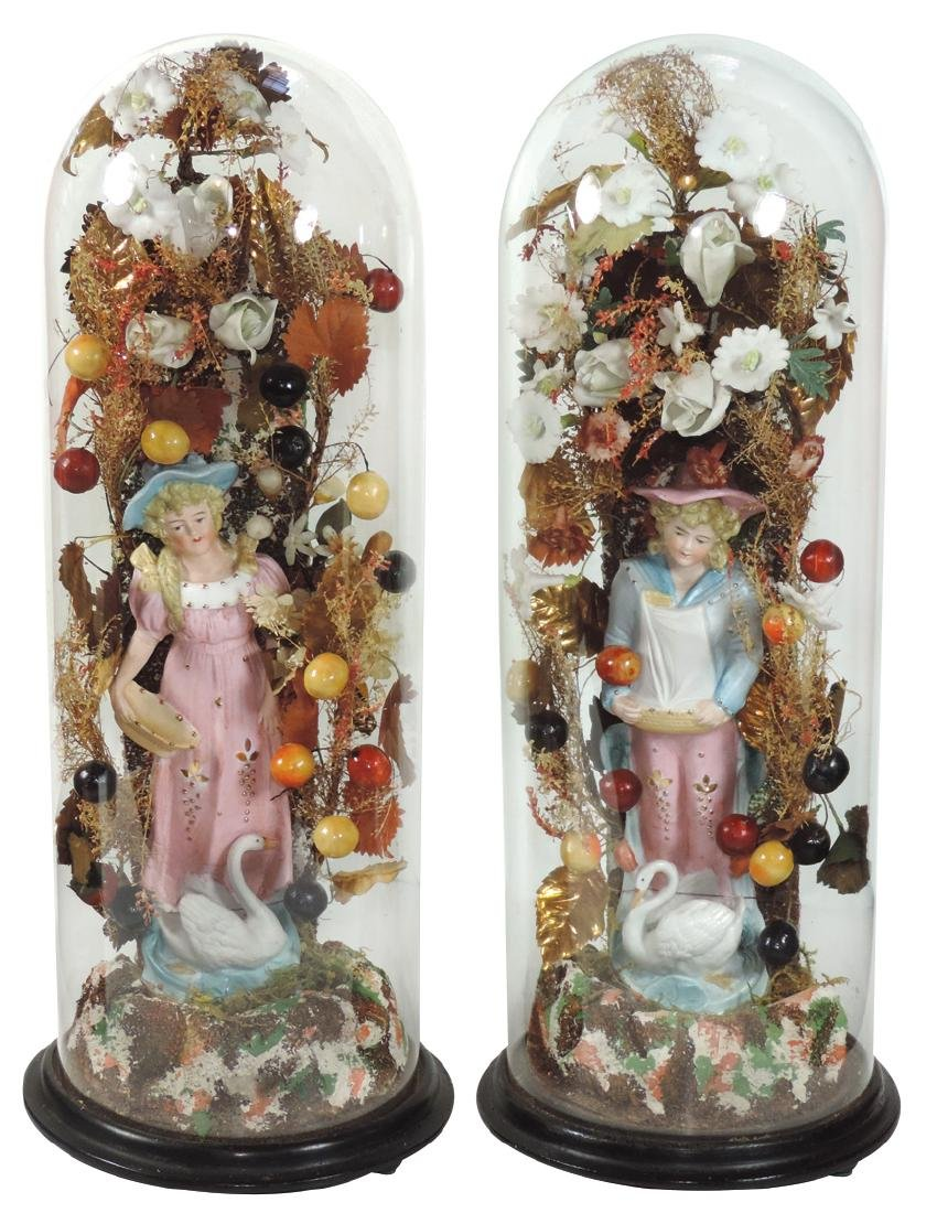 Victorian glass domes (2), matching pr w/porcelain boy