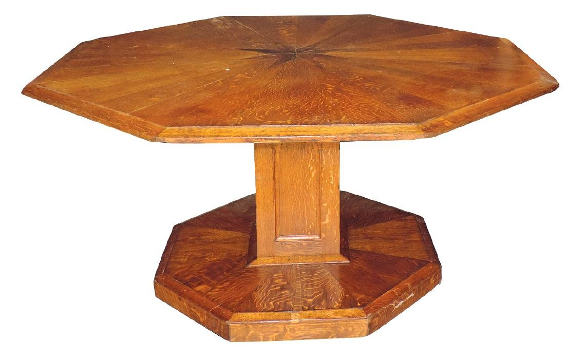 Furniture, table w/octagon top & base, oak parquetry